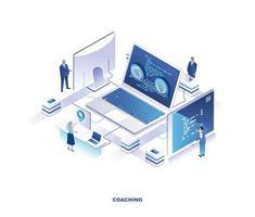 diseño isométrico de coaching empresarial vector