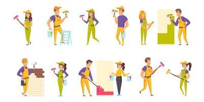 conjunto plano de pintores de casas vector