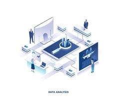 Data analysis or financial analytics isometric design vector