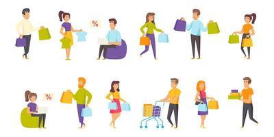 Shoppers flat set vector