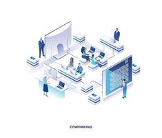 Coworking place or shared office isometric design vector