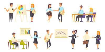 Business meeting flat set vector