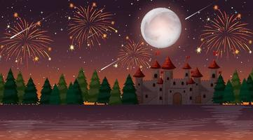 Celebration at night over castle vector