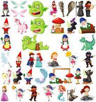 Set of fantasy cartoon characters vector