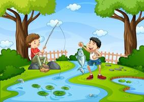 Two boys fishing in stream scene