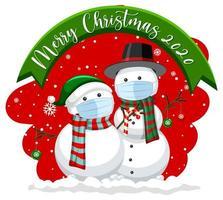 banner de feliz navidad 2020 con muñeco de nieve enmascarado