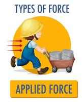 Applied force design with kid pushing wheelbarrow