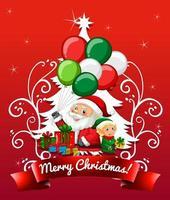 feliz navidad y año nuevo tarjeta con santa claus vector