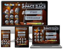 Space race mission game on diffrent electronic screens