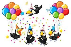 grupo de aves en el tema de la fiesta