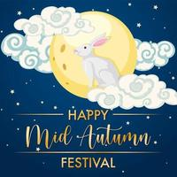 Chinese mid autumn festival design with rabbit and moon vector