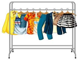 Many clothes hanging on a clothes rack vector