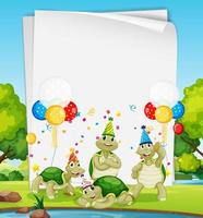 plantilla de papel con animales lindos en tema de fiesta vector