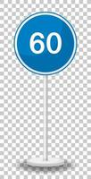 Límite de velocidad mínimo azul 60 señal de carretera