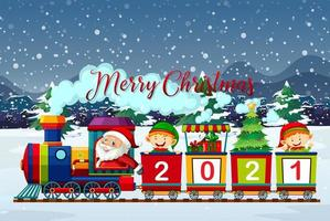 Merry Christmas font with Santa and elves on train vector