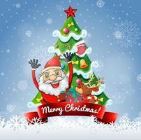 banner de feliz navidad con santa claus y lindo reno vector