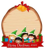 tablero de madera en blanco con elfos navideños vector