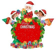 feliz navidad marco de corona con santa y elfos