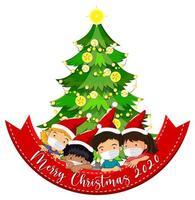 feliz navidad 2020 banner con niños enmascarados y arbol
