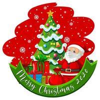 feliz navidad 2020 texto con santa enmascarado y árbol vector