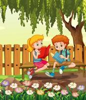 Young boy and girl reading in garden scene vector
