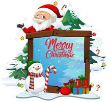feliz navidad texto con santa en el marco del tema de navidad