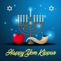 Yom Kippur text with shofar greeting card