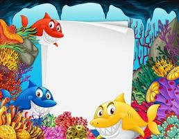 Blank paper template with many sharks underwater