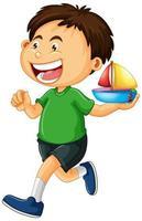 niño sosteniendo barco de juguete