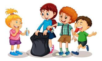 Group of young children cartoon characters