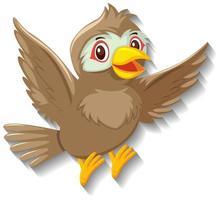 personaje de dibujos animados lindo pájaro gorrión