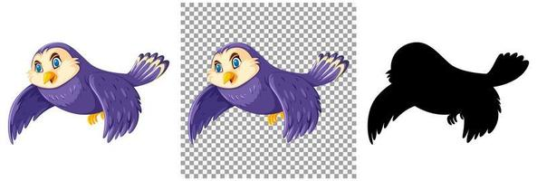 Lindo personaje de dibujos animados de pájaro púrpura y silueta