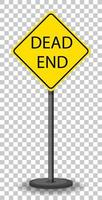 Yellow dead end traffic warning sign