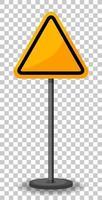 señal de tráfico triangular amarilla vacía vector