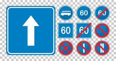 Set of blue road signs vector