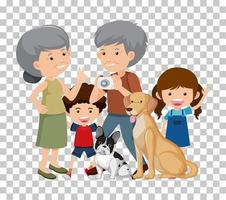 Old couple and grandchild with their pet dogs