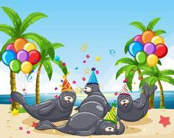 Grupo de focas en tema de fiesta en la playa
