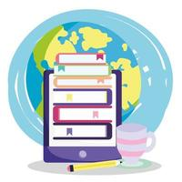 Online education smartphone and stack of books