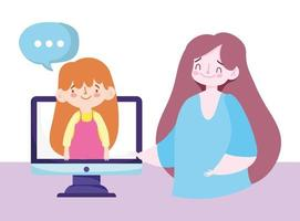 Online education teacher and student girl talking