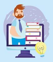 Online education male teacher and ebooks cartoon vector