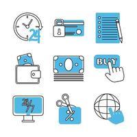 Marketing and e-commerce icon set vector