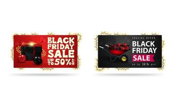 Red and Black horizontal banners with presents