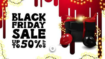 Black Friday Sale banner with gift and balloons vector