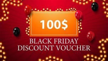 Red Black Friday discount voucher vector