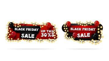Black red and black horizontal cartoon discount banners vector