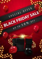 Black Friday Sale lights and gift poster vector