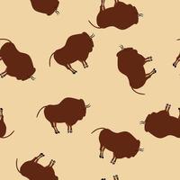 Primitive bison drawings beige seamless pattern vector