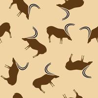 Primitive deer drawings beige seamless pattern vector