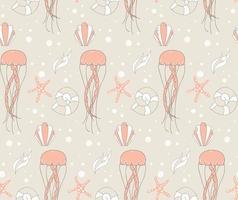 Seamless pattern with cute underwater scene