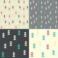 Collection of four seamless patterns with geometric triangles vector